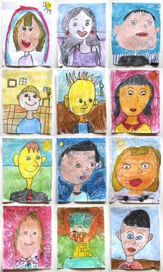 grade self portraits is part of children Drawing Grades - Project Self Portrait Materials Sharpie and chalk pastel on white paper For this project the students identified and drew facial features with a pencil, big eyes, a nose, a happy mouth, listening… Student Self Portraits, Kindergarten Self Portraits, Portraits For Kids, Kindergarten Art, September Art, First Grade Art, 2nd Grade Art, Self Portrait Drawing, Dibujo