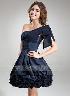 A-Line/Princess One-Shoulder Short/Mini Chiffon Taffeta Cocktail Dress With Ruffle (016008242)