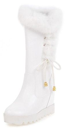 f9ede2a72f9 IDIFU Women s Warm String Platform High Wedge Heels Hidden Inside Faux Fur  Mid Calf Snow Boots