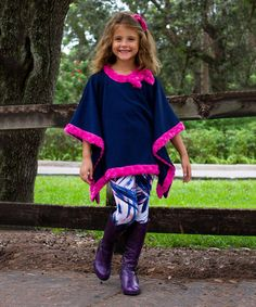 Love this Fuchsia & Blue Bow Poncho & Leggings - Toddler & Girls on #zulily! #zulilyfinds
