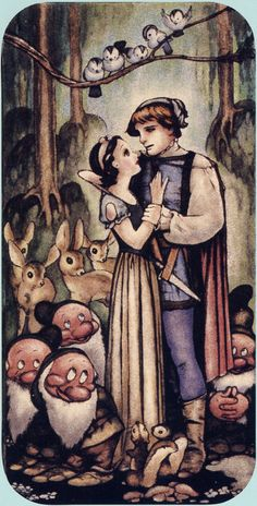 A beautiful piece of concept art for Disney's 'Snow White and The Seven Dwarves' (1937), illustrated by Gustaf Tenggren.