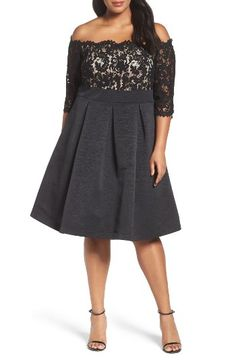 Free shipping and returns on Eliza J Off the Shoulder A-Line Dress (Plus Size) at Nordstrom.com. A lacy bodice and off-the-shoulder neckline provide graceful finishing touches on a perfectly pleated A-line dress.