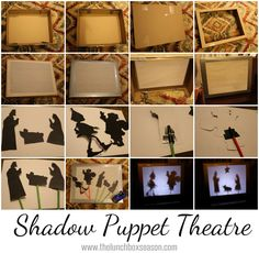 DIY Shadow Puppet Theatre - Quick and Easy tutorial. All you need is a box, some thin paper and duct tape!  Printable silhouettes transform into puppets in a flash with a pair of scissors, tape, and dollar store wooden dowels.