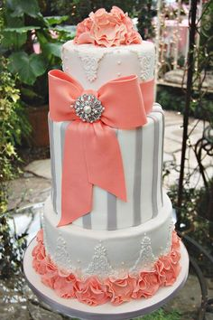 tall tier cakes. Nice piping.  Great idea to work with. Pretty Cakes, Gorgeous Cakes, Cute Cakes, Fancy Cakes, Cake Art, Dani Johnson, Peach Cake, Coral Color, Grey And Coral