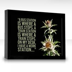 A bus station is where a bus stops. A train station is where a train stops. On my desk, I have a work station....