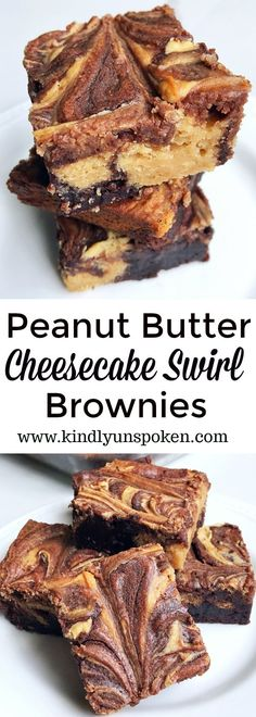 Peanut Butter Cheesecake Swirl BrowniesSay goodbye to boring brownies and hello to the most delicious brownies you've ever eaten! Featuring a simple fudge brownie box mix, swirls of decadent peanut butter and sweetened cream cheese mixture, thes Brownies Caramel, Cheesecake Swirl Brownies, Peanut Butter Swirl Brownies, Cream Cheese Brownies, Peanut Butter Cheesecake, Best Brownies, Fudge Brownies, Easy Peanut Butter Desserts, Boxed Brownies