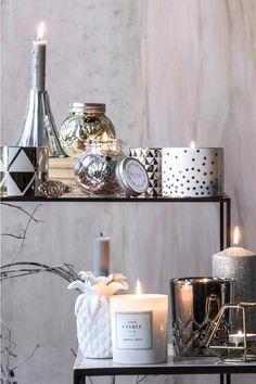 Bougie | H&M photophores bougies argenté géométrique