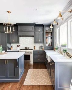 Modern Home Decor Slate blue kitchen cabinets and brass lighting in this classic kitchen. Home Decor Slate blue kitchen cabinets and brass lighting in this classic kitchen. Home Decor Kitchen, Diy Kitchen, Home Kitchens, Vintage Kitchen, Cheap Kitchen, Awesome Kitchen, Kitchen Black, Kitchen Modern, Kitchen Corner