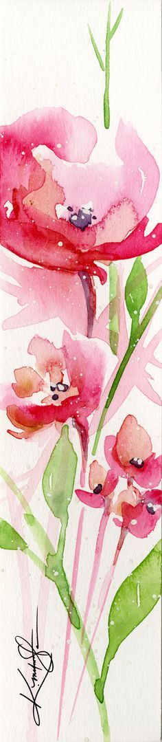 Abstract Flower Watercolor Painting, Pink, Red, Poppy, Poppies, Tiny Small art…