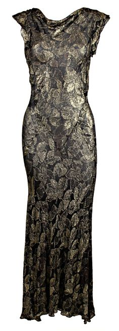 1930's Floral Silk Lamé Gown with Cowl Neck ~ http://fashion.1stdibs.com/avl_item_detail.php?id=58687