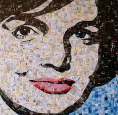 """Did you know that Chasen Galleries Artist Sandhi Schimmel Gold creates art from her junk mail? Her pieces are mosaics assembled from cut up discarded papers. The resulting portraits invite the viewer to consider society's obsession with beauty and the constant images that bombard us daily. """"Camelot"""" by Sandhi Schimmel Gold"""