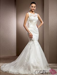 Trumpet/Mermaid Jewel Court Train Lace Wedding Dress - Trumpet / Mermaid - Wedding Dresses - CDdress.com