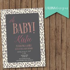 Animal Print Baby Shower Invite, Animal Print Invitation, Glitter Invitation, Girl Baby Shower, DIY Printable, Leopard Print