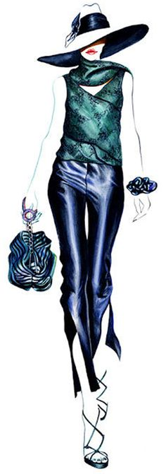 Dessin de Sunny Gu, artiste d'origine chinoise basée à Los Angeles pour Giorgio Armani.\\
