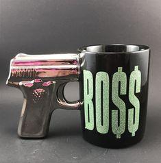 Pistol Grip Gun Handle Coffee/Tea Mug Just Funky BOSS Cup Ceramic Gold & Black    eBay Tea Mugs, Coffee Time, Black Gold, Boss, Handle, Graphics, Ceramics, Tableware, Ebay