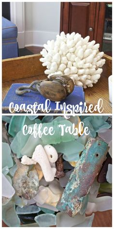 Coastal Inspired Coffee Table. Sea glass. Nautical finds. Antique. - 2 Bees in a Pod