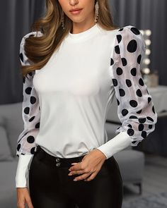 Style:Fashion Pattern Type:Polka Material:Polyester Neckline:Round Neck Sleeve Style:Long Sleeve Length:Regular Occasion:Casual Package Blouse Note: There might be difference according to manual measurement. Please check the measurement chart. Trend Fashion, Womens Fashion, Latest Fashion, Style Fashion, Vestidos Chiffon, Fashion Pattern, Trendy Outfits, Fashion Outfits, Fashion Blouses