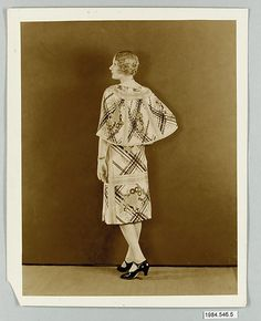 Model wearing dress made from Stehli Silks Americana Print collection. (1925)