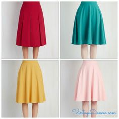 Classic vintage 1940s skirts in bright Colors from Modcloth- Pleats, A-line, circle skirts all have that vintage styling.