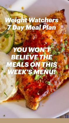 Weight Watchers Meal Plans, Weight Watchers Snacks, Weight Loss Meal Plan, Ww Recipes, Easy Healthy Recipes, Easy Meals, Cooking Recipes, Great Chicken Recipes, 7 Day Meal Plan