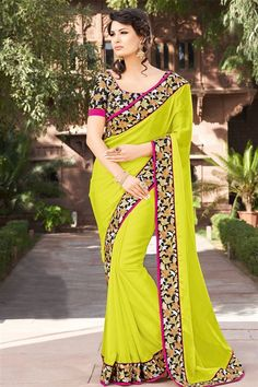 Designer party wear yellow saree with blouse