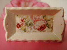 Dollhouse Miniature Ivory Rose Serving Tray by miniaturerosegarden, $10.00