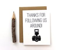 Wedding Photographer Thank You Card Thanks by PattersonPaper