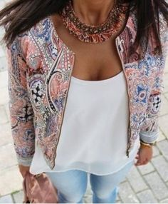 Ethnic Scoop Neck Long Sleeve Print Loose-Fitting Jacket For Women Jackets | RoseGal.com Mobile