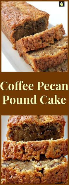 Unbelievable Pecan Dessert Recipes Coffee Pecan Pound Cake is a lovely tasting, moist cake with a perfect combination of coffee flavor and texture from the pecans. Delicious with a cup of coffee!Coffee Pecan Pound Cake is a lovely tasting, moist cake with Pecan Desserts, Just Desserts, Delicious Desserts, Pecan Cake, Holiday Desserts, Pecan Bread Recipe, Thanksgiving Desserts, Coffee Bread Recipe, Health Desserts