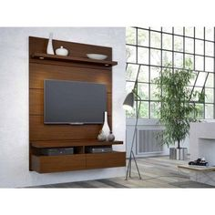 Manhattan Comfort Cabrini 1.2 Floating Wall Theater Entertainment Center for TVs up to 42 inch, Multiple Colors, Black