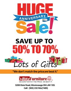 Huge Sale Get the huge benefit on buying furniture from Ritz Furniture Planet. Call at: 905-232-7489, 289-521-7489 and visit at: http://www.ritzfurnitureplanet.ca #sale #hugesale #bigsale