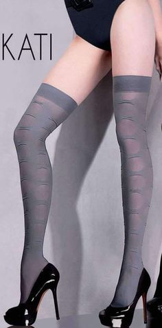 5ef8e4e49 New Smokey Grey Patterned Over The Knee Tights Gabriella Kati 5ft 2