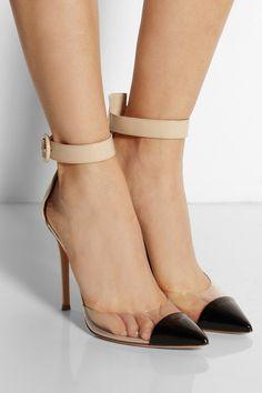 FSJ Transparent Ankle Strap Pumps