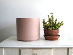 vintage large pink ceramic planter -    - sturdy and minimal; amazing mid century flower pot  - large; great condition- some discoloration on