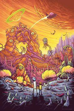 Rick and Morty Funny Cartoon Trippy Art Silk Poster 013 Abenteuerzeit Mit Finn Und Jake, Dan Mumford, Rick And Morty Poster, Psy Art, Psychedelic Art, Iphone Wallpaper, Geek Stuff, Cool Stuff, Cartoons