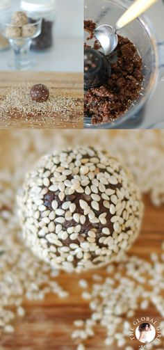 @theglobalgirl Raw Food Recipes: Chocolate Sesame Balls. This super healthy dessert is raw, vegan, dairy free, gluten free, oil free and without any refined sugar. The perfect guilt-free snack. http://theglobalgirl.com/rawfoodrecipes