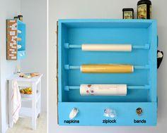 Sandwich station or place for foil, wax paper, plastic wrap, ziploct, napkins & rubber bands! Now where to put it?