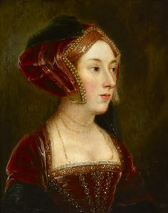 Queen Anne Boleyn painted c. 1700 - 1799 by British (English) School. School of Hans Holbein the younger. Oil on panel. Petworth © National Trust. The beading on her dress is exquisite.