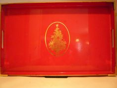 Campaign Style Red Christmas Holiday Large Tray #trovemagpie #Christmas