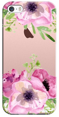 Casetify iPhone SE Classic Snap Case - Pink flowers. Watercolor by Julia Badeeva #Casetify