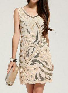 Beige Sleeveless Mini Dress w/ Sequin Flower Print