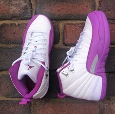 a475f237b7c481 Jordan 12s i think these are customs but there like the black hyper  violets. Cute