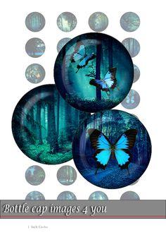 Bottle Cap Images - dark forest - Digital Collage Sheet 1 inch Printable Digital Images for pendants bottle caps and crafts