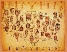 Native American map. found via tairrastrange. [Only a few of hundreds of tribal groups are shown.]