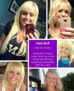 Allie with blonde and various looks extensions and flash color