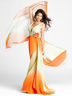 Sheath Floor Length Multi-Color Ombre Chiffon Flower Natural Waist Shawl Back Dresses