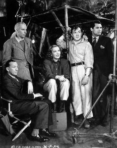 Noel Coward, Howard Hawks, Jean Arthur, Thomas Mitchell and Cary Grant on the set of Only Angels Have Wings (1939)