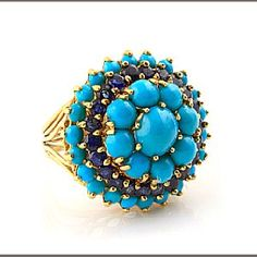 Get me to the Bonham's auction...stat!  A turquoise, sapphire and gold cocktail ring