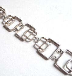 Modernist Sterling Silver Rectangles Bracelet by PatriciaCohn