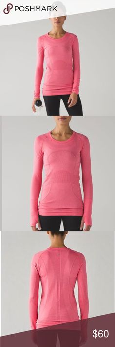 💘lululemon Swiftly LS in Heathered Lush Coral💘 Perfect condition. Size 12 Swiftly Longsleeve in gorgeous Heathered Lush Coral. Silverescent technology. Thumb holes. lululemon athletica Tops